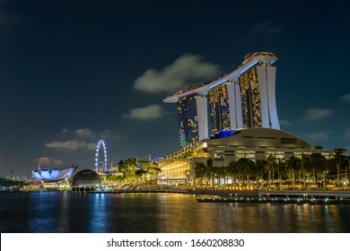 SINGAPORE CITY, SINGAPORE - FEBRUARY 13, 2020: Marina Bay Sands at night the largest hotel in Asia. It opened on 27 April 2010.