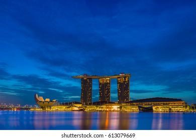 SINGAPORE CITY, SINGAPORE - FEBRUARY 16, 2017: View Of Marina Bay sands at sunrise. Travel, Singapore on FEBRUARY 16, 2017