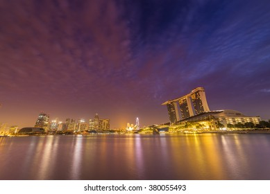 SINGAPORE CITY, SINGAPORE - FEBRUARY 21, 2016: Singapore Skyline And View Of Marina Bay sands. Travel, Singapore on FEBRYARY 21, 2016