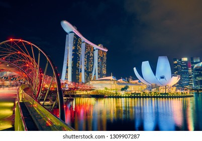 SINGAPORE CITY, SINGAPORE - JANUARY 12, 2019:  Marina Bay Sands is an integrated resort fronting Marina Bay