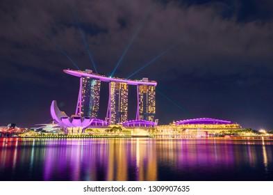 SINGAPORE CITY, SINGAPORE - JANUARY 12, 2019:  Marina Bay Sands is an integrated resort fronting Marina Bay