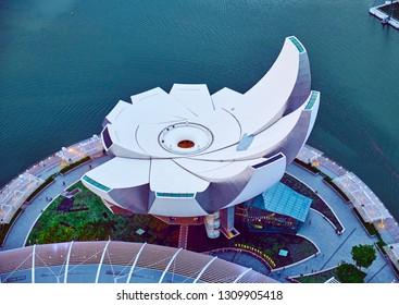 SINGAPORE CITY, SINGAPORE - JANUARY 13, 2019: Top view of the ArtScience museum