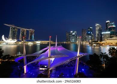 Singapore City, Singapore, Jul 11, 2015: Night Cityscape at Marina Bay Singapore