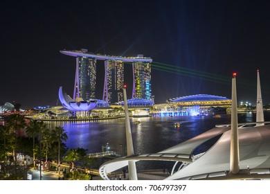 Singapore City, Singapore - July 18, 2015:Singapore Skyline. Singapore`s business district, blue sky and night view for marina bay