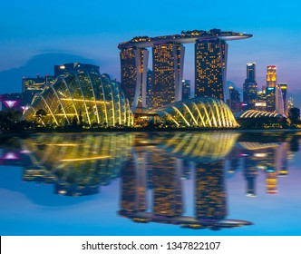 SINGAPORE CITY, SINGAPORE - July 27, 2018 :  Beautiful landscape tourist attractions in Singapore city Marina Bay Sand the famous place of Singapore