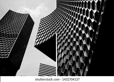 Singapore city, Singapore - June 16, 2019: View of the DUO galleria, a new highrise building
