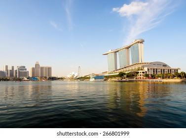 Singapore City, Singapore - June 20, 2014: Singapore Skyline and view of Marina Bay.