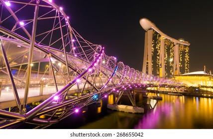 Singapore City, Singapore - June 22, 2014: The Helix Bridge in Singapore.