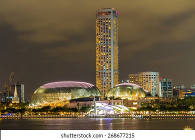 Singapore City, Singapore - June 22, 2014: Esplanade Theatres on the Bay, on the waterfront of Singapores bay.