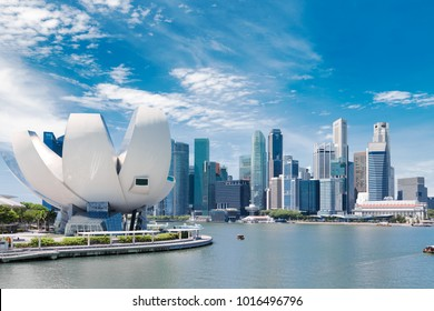 Singapore city landscape at day blue sky. Downtown business district at Marina Bay view. Urban skyscrapers cityscape