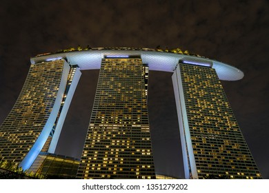 SINGAPORE CITY, SINGAPORE - MARCH 27, 2019: Marina Bay Sands is an integrated resort fronting Marina Bay at night view