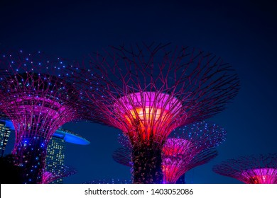 SINGAPORE CITY, SINGAPORE - MARCH 29, 2019 : Super trees at Gardens by the marina bay, illuminated at night, Singapore, Southeast Asia. Garden by the Bay is a nature park in city centre of Singapore
