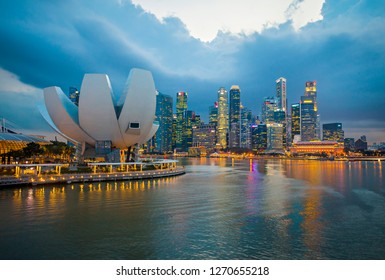 Singapore City - Singapore : Marina Bay Sands. Downtown Singapore city in Marina Bay area. Financial district and skyscraper buildings. It is the most visited area by tourist in the country (02/2017).