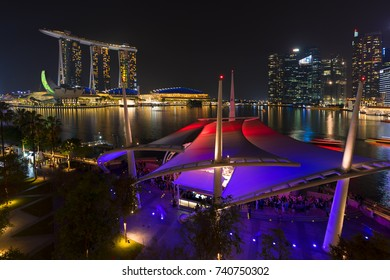 Singapore City, Singapore - May 17, 2017 : Night view of Singapore on Light Festival. Marina Bay is a bay located in the Central Area of Singapore.