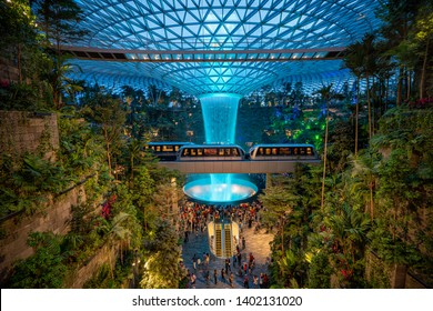 SINGAPORE , SINGAPORE CITY - MAY 19, 2019 : Jewel Changi Airport (Jewel) is a mixed-use development at Changi Airport in Singapore , the world's best airport and destination in itself.