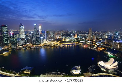 Singapore city at night.