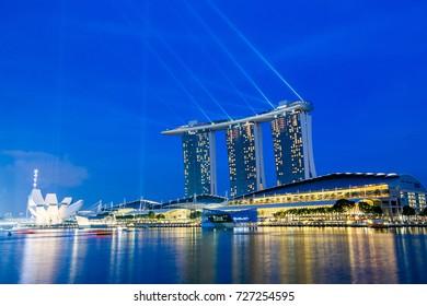 Singapore City, Singapore – November 22, 2014 : View of Marina bay sands resort hotel at night