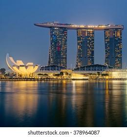 SINGAPORE CITY, SINGAPORE - OCTOBER 02, 2015: Singapore Skyline And View Of Marina Bay. Travel,  Singapore  on OCTOBER 02, 2015