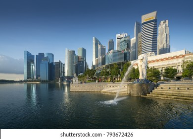 SINGAPORE CITY, SINGAPORE: october 6,2017: Merlion fountain in front of financial buildings at downtown of Singapore.