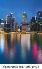 Singapore city office downtown during twilight, cityscape downtown background