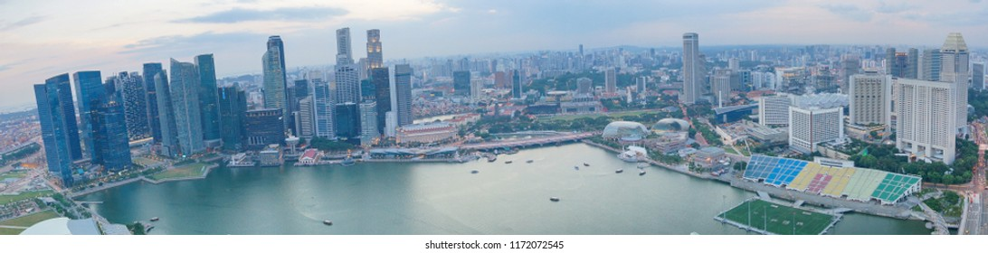 Singapore city panorama with Bay view. Modern Asian megalopolis with skyscrapers and office buildings