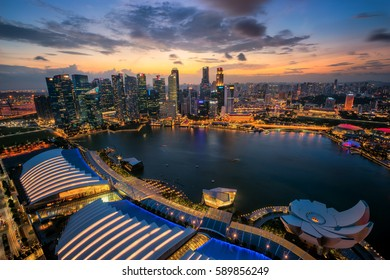 Singapore city panoramic from top view of building on 12 Feb 2017, in Singapore