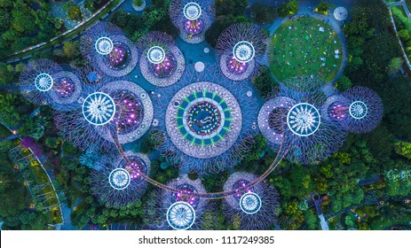 Singapore City, Singapore - Sep 2, 2017: Aerial top view Super tree grove in Gardens by the Bay and Marina Bay Sands in Singapore.