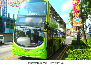 Singapore City, September 30, 2018. Singapore MRT double decketr bus in Little India, Singapore.