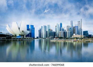 Singapore city skyline.