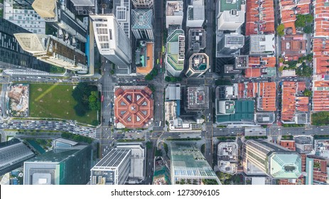 Singapore city skyline business building and financial district, Aerial top view Singapore City.