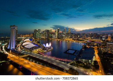 Singapore city skyline and business district. View from Singapore flyer.