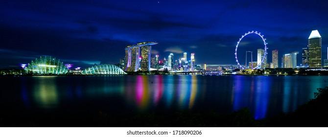 Singapore city skyline by night