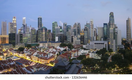 Singapore City Skyline And Chinatown Area at Blue Hour Panorama