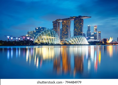 Singapore city skyline at dusk, Singapore