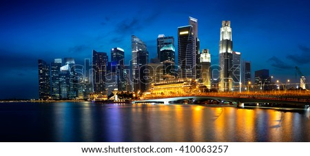 Singapore city skyline at