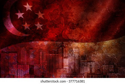 Singapore City Skyline with Flag Grunge Texture Background Illustration