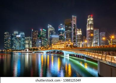 Singapore city skyline at Marina Bay view from Singapore City - beautiful sunset city tower downtown Cityscape -night landscape Singapore city