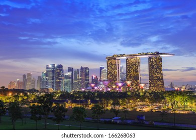 Singapore city skyline at Marina Bay cityscape by night