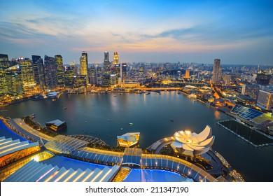 Singapore city skyline at Marina Bay cityscape when sunset