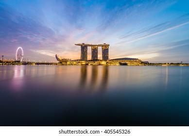 Singapore city skyline at Marina Bay during sunrise