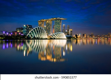 Singapore city skyline at night, Singapore