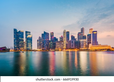 Singapore city skyline on the marina.