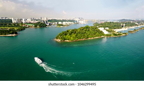 Singapore city skyline with Sentosa in forefront