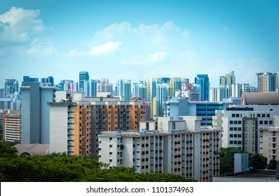 Singapore city Skyline and view of skyscrapers on Henderson bridge at daytime.