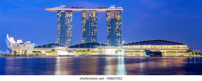 SINGAPORE CITY, SINGAPORE STATE - 03 NOVEMBER 2014: Marina Bay Sands is a Resort fronting Marina Bay in Singapore. Developed by Las Vegas Sands, it is the most expensive standalone casino property
