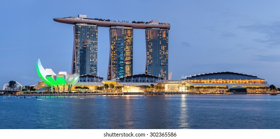 SINGAPORE CITY, SINGAPORE STATE - 26 OCTOBER 2014: Marina Bay Sands is a Resort fronting Marina Bay in Singapore. Developed by Las Vegas Sands, it is the most expensive standalone casino property
