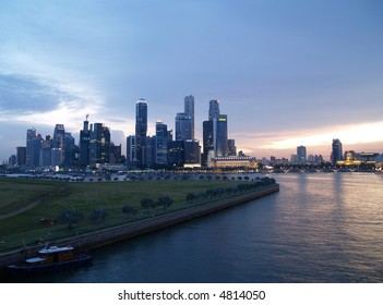 Singapore City Sunset Skyline