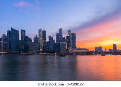 singapore city twilight .