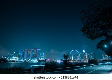 Singapore cityscape at dusk. Landscape of Singapore business modern building around Marina bay at twilight, Singapore - 11 July 2018