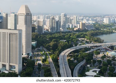 Singapore cityscape of the financial district, Singapore